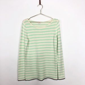 GAP mint and cream striped crew neck sweater